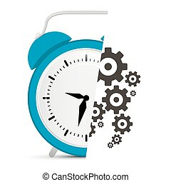 Alarm Clock Vector with Cogs - Gears Illustration