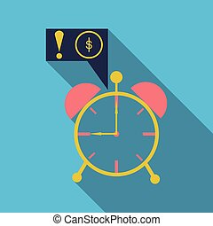 Alarm clock wake-up time isolated on background in flat style. Vector illustration