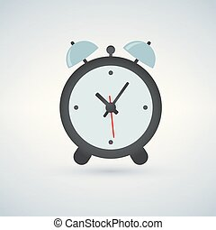 Alarm clock, wake-up time, vector illustration isolated on light background
