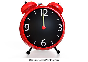 Alarm clock with an empty clock face on white background. 3D rendering