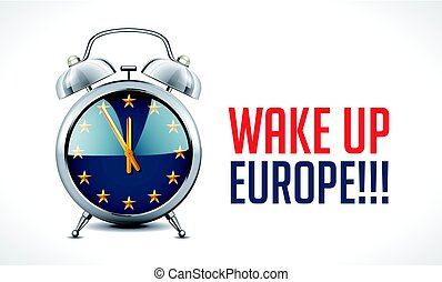 Alarm clock with EU flag - Wake up Europe concept