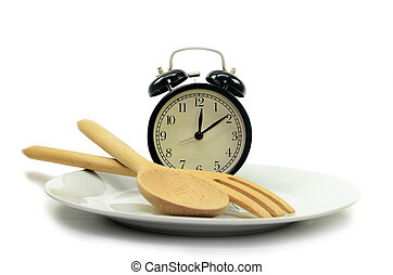 Alarm clock with fork and knife on the plate
