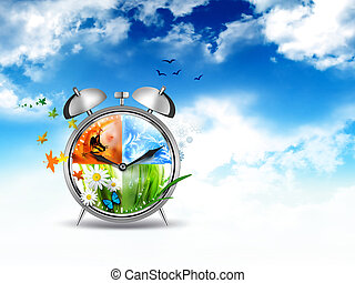 time concept image - alarm clock with Four Seasons - time...
