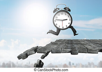 Alarm clock with human legs running on breaking puzzle ground
