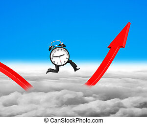 Alarm clock with legs running on growing red arrow graph