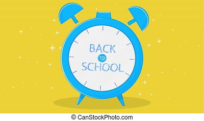 Alarm clock with text back to school, art video illustration.