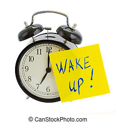 alarm clock with wake up! note