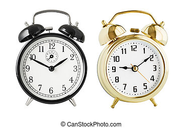Alarm clocks set isolated - Black and gold alarm clocks ...