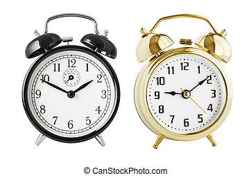 Alarm clocks set isolated - Black and gold alarm clocks ...