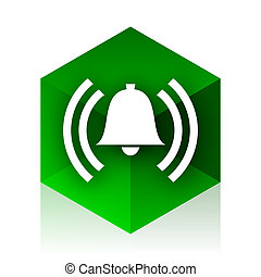 alarm cube icon, green modern design web element