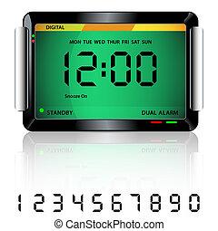 alarm, digital, grün, uhr