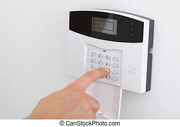 alarm, einstellung, sicherheit, finger