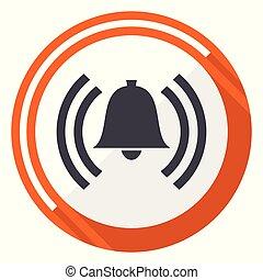 Alarm flat design vector web icon. Round orange internet button isolated on white background.