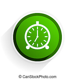 alarm flat icon with shadow on white background, green ...