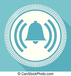 Alarm flat vector icon, alert bell ring square blue web button