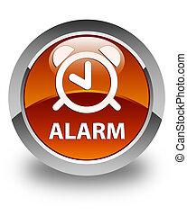 Alarm glossy brown round button