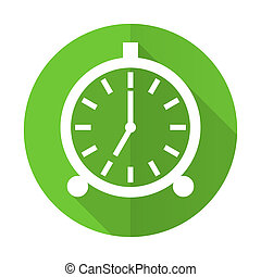 alarm green flat icon alarm clock sign