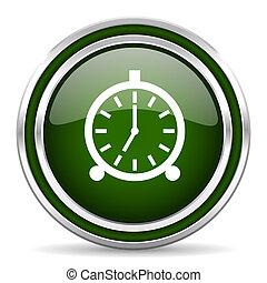 alarm green glossy web icon