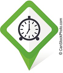 Alarm green square pointer vector icon in eps 10 on white background with shadow.