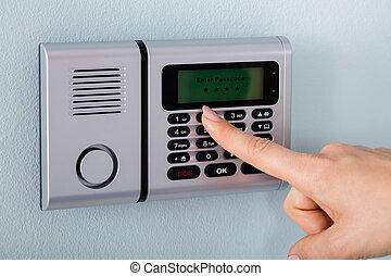 alarm, hånd, person, bruge, security til hjem