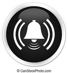 Alarm icon black glossy round button