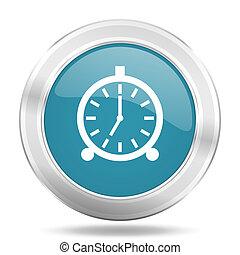 alarm icon, blue round glossy metallic button, web and ...