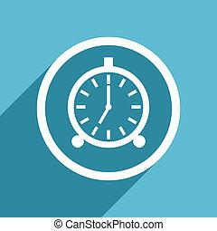alarm icon, flat design blue icon, web and mobile app design...
