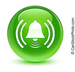 Alarm icon glassy green round button