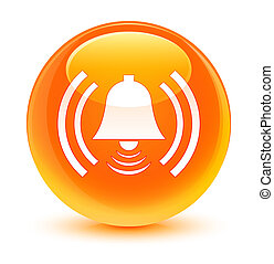 Alarm icon glassy orange round button