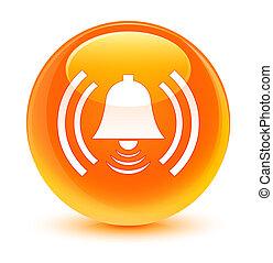 Alarm icon glassy orange round button
