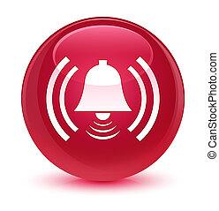 Alarm icon glassy pink round button