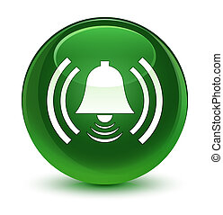 Alarm icon glassy soft green round button