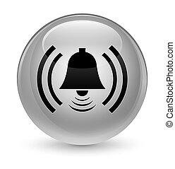 Alarm icon glassy white round button