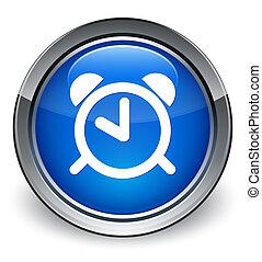 Alarm icon glossy blue button