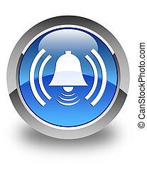 Alarm icon glossy blue round button