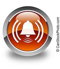 Alarm icon glossy brown round button
