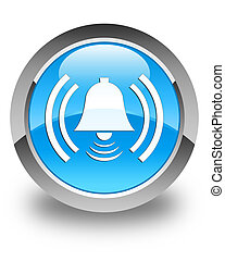 Alarm icon glossy cyan blue round button