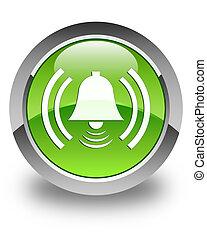 Alarm icon glossy green round button