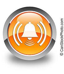 Alarm icon glossy orange round button