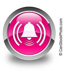 Alarm icon glossy pink round button