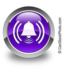 Alarm icon glossy purple round button