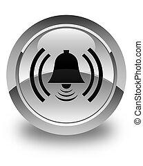 Alarm icon glossy white round button