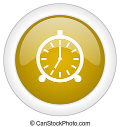 alarm icon, golden round glossy button, web and mobile app design illustration