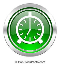 alarm icon, green button, alarm clock sign