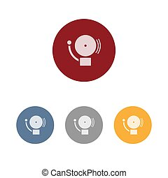 Alarm icon on four colored circles and a white background