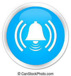 Alarm icon premium cyan blue round button