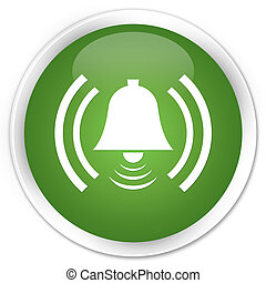 Alarm icon premium soft green round button