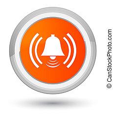 Alarm icon prime orange round button