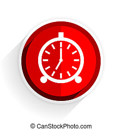 alarm icon, red circle flat design internet button, web and ...