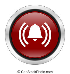 alarm icon, red round button isolated on white background, web design illustration